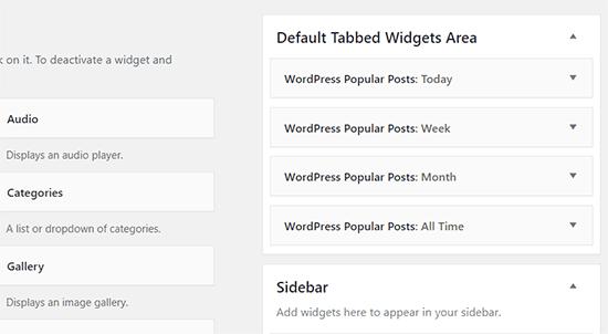 Tabbed widget area with all popular posts widgets