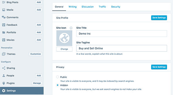 Settings panel in WordPress app