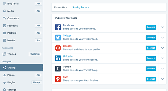 Enabling social sharing in WordPress.com