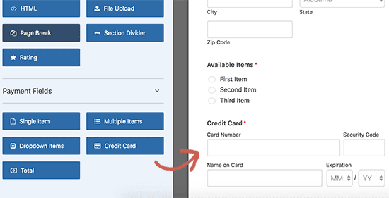 Add credit card field