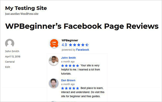 Display Facebook Reviews on Pages or Posts