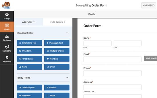 Editing order form