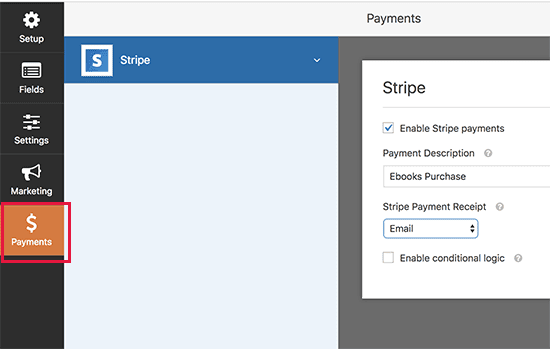Enable Stripe payments