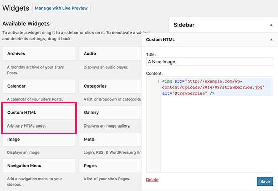 Manually add image to WordPress sidebar widget