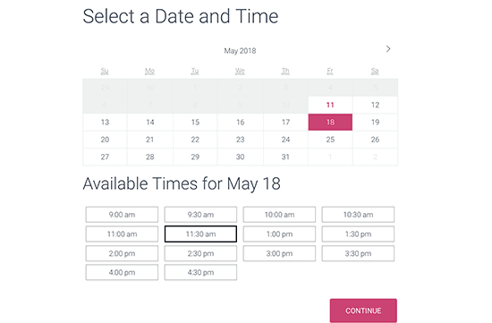 Select date and time