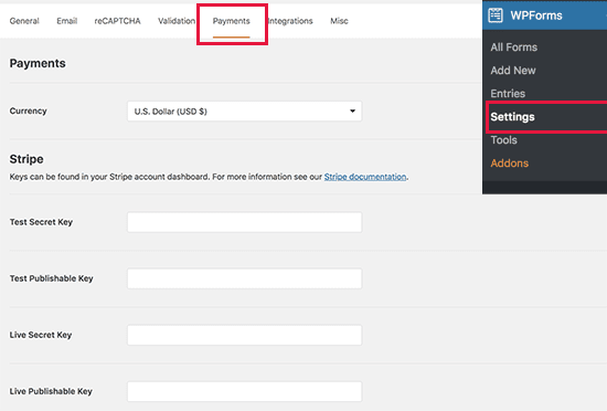 WPForms payments settings