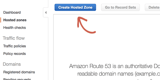 Create hosted zone button