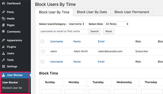 User blocker settings