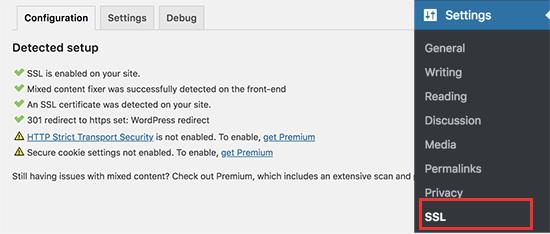 SSL enabled on a WordPress website