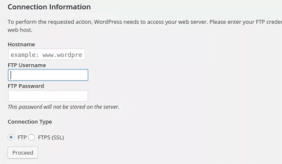 WordPress asking for FTP information