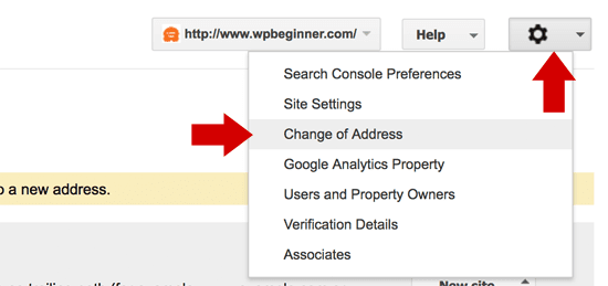 Google Search Console Change of Site Address