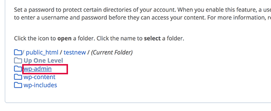 Browse and locate the wp-admin folder