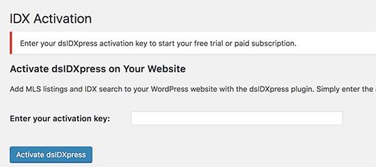 IDX activation key