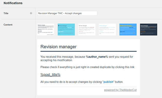 Notification for revision manager