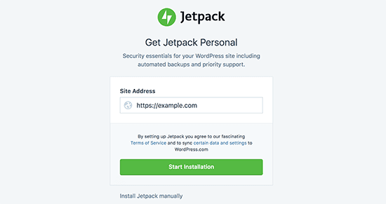 JetPack enter site address