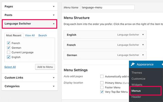 Adding language switcher to WordPress navigation menus