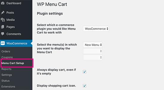 Menu Cart settings