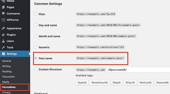 Changing WordPress permalinks structure