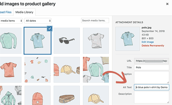 Adding alt text to product images