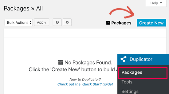 Creating new package in Duplicator