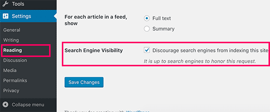Search engine visibility setting in WordPress