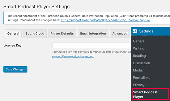 Smart Podcast Player settings