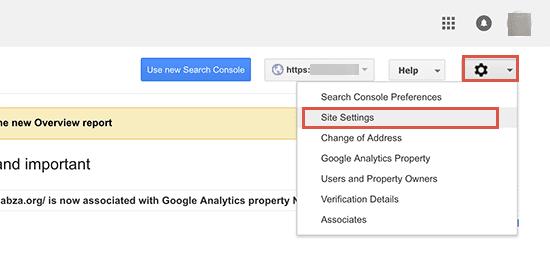 Google Search Console site settings