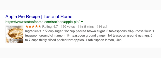 Rich snippets shown in Google Search results